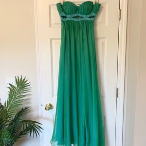 Cache Strapless Turquoise Green Prom Dress US6